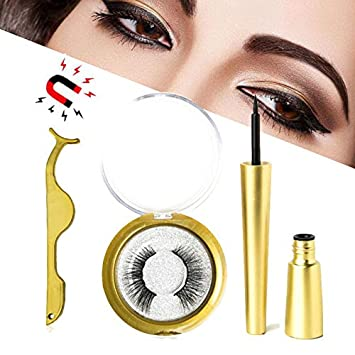 edbf1d87e23 Magnetic Eyelash with Magnetic Eyeliner, [2019 Newest] Professional 3D  Waterproof Long Lasting Magnet