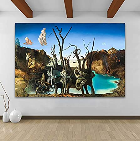 REDWPQ Arte de la Lona Arte Abstracto Famoso Pintor Obra de Arte Pintura Cisnes Elefantes Reflectantes Cuadros de Pared para Sala de Estar Decoración para el hogar Impreso 40 * 60 cm sin Marco