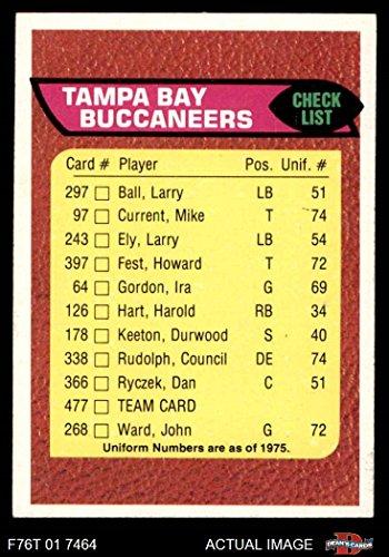 1976 Topps # 477 Buccaneers Team Checklist Tampa Bay Buccaneers (Football Card) Dean's Cards 8 - NM/MT (1976 Tampa Bay Buccaneers)