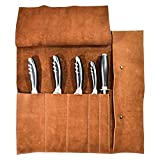 Rustic Leather Knife Roll (5 pockets) Handmade by Hide & Drink :: Swayze Suede