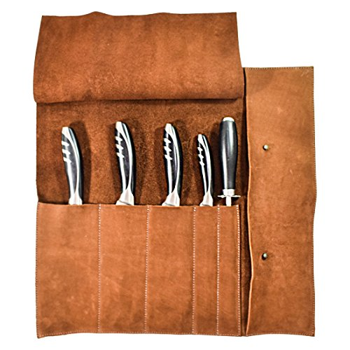 Rustic Leather Knife Roll (5 pockets) Handmade by Hide & Drink :: Swayze Suede by Hide & Drink