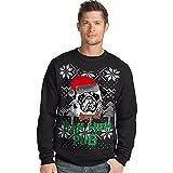 Hanes Men's Ugly Christmas Sweatshirt,Black/Bah Hum Pug,Small