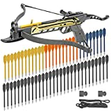 KingsArchery Crossbow Self-Cocking 80 LBS with Adjustable Sights, 3 Aluminium Arrow Bolts, Spare Crossbow String and Caps, and Bonus 60-Pack of Colored PVC Arrow Bolts Warranty