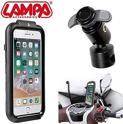 Soporte para Smartphone para teléfono con lámpara 90433 para iPhone 6 7 8 + Enganche para Barra de Espejo con Marco de travesaños 90438 Piaggio Moto: Amazon.es: Coche y moto
