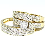 His and Her Rings Set 10k Yellow Gold 0.4cttw Diamonds Pave Top Trio Rings