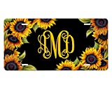 Personalized License Plate Monogram Front Car Tag Sunflowers on Black