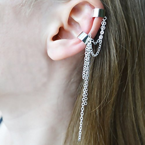 Handmade Ear Cuffs No Piercing 1 Piece Chain Earrings On Every Day Teenagers Girl Double Cuffs Hanging Gift For Her Dangle Earrings Non Piercing