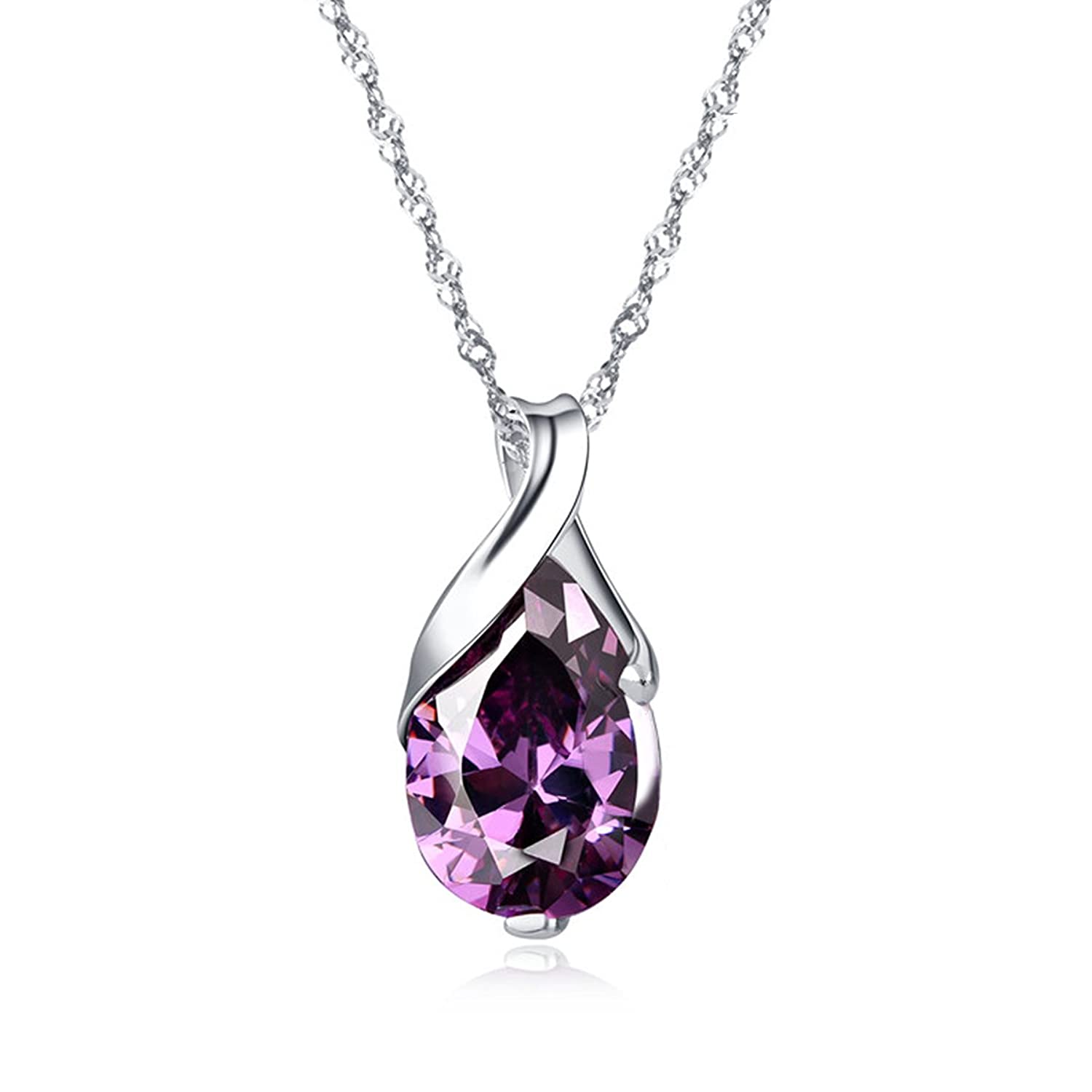 Golden sterling silver pendant necklace silver natural amethyst golden sterling silver pendant necklace silver natural amethyst necklace 18 drop shape supplied in a gift box hjs002 amazon jewellery aloadofball Gallery