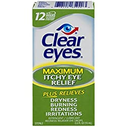 Clear Eyes Maximum Itchy Eye Relief - #1 Selling Brand of Eye Drops - Relieves Dryness, Burning, Redness, and Irritations - Up to 12 Hours of Soothing Comfort - 0.5 Ounces (Pack of 6)