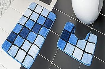 2 teilig badset badgarnitur badematten badteppich stand wc blau n81
