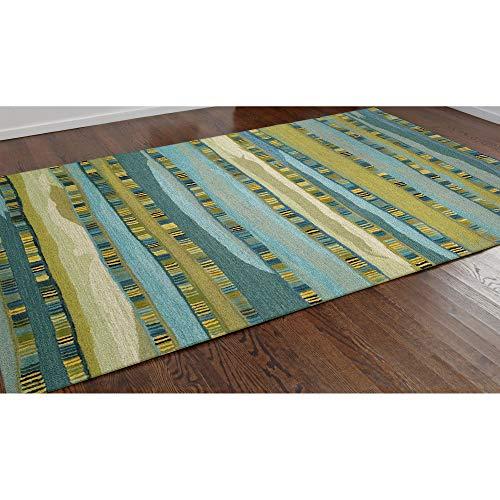 - Liora Manne SE058A28303 SEV58962503 Seville Mosaic Stripe Wool Indoor Rug, 5' X 8', Blue