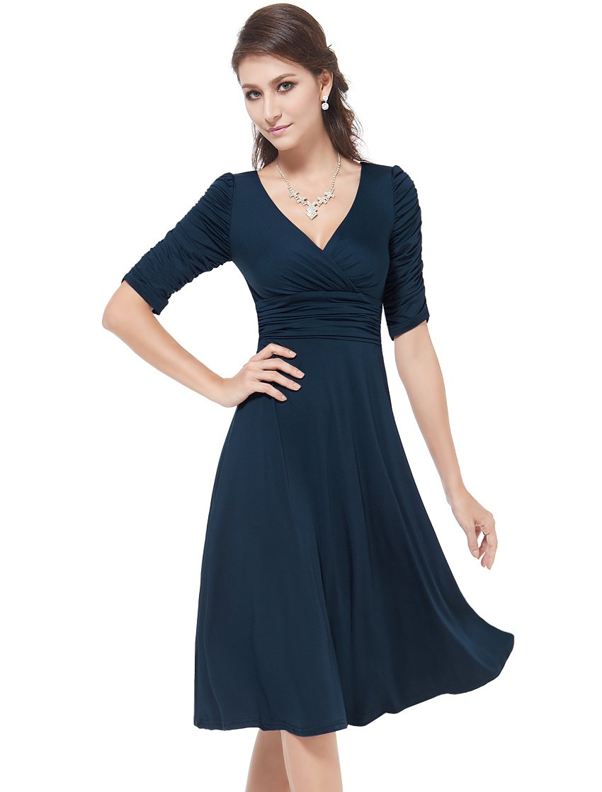 Ever-Pretty Womens Wedding Guest Dresses with Sleeves 6 US Navy Blue
