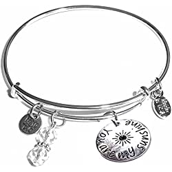 Message Charm (46 words to choose from) Expandable Wire Bangle Bracelet, in the popular style, COMES IN A GIFT BOX! (You are my sunshine)