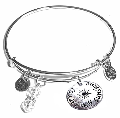 Message Charm (46 words to choose from) Expandable Wire Bangle Bracelet, in the popular style, COMES IN A GIFT BOX! (You are my sunshine)]()