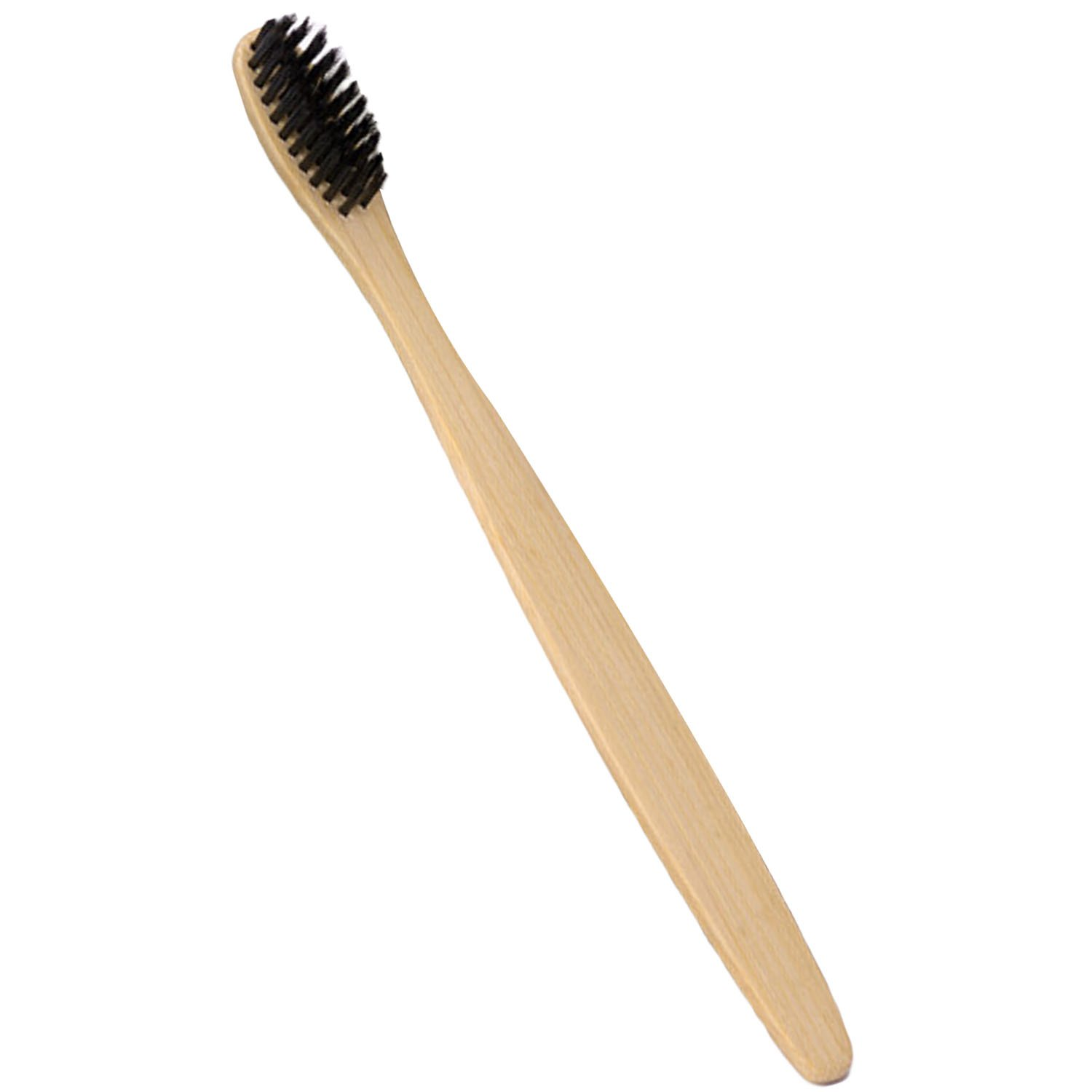 Eco-Friendly Natural Bamboo Toothbrush with Soft Charcoal Bristles Ergonomic Handle Arc Head Vococal