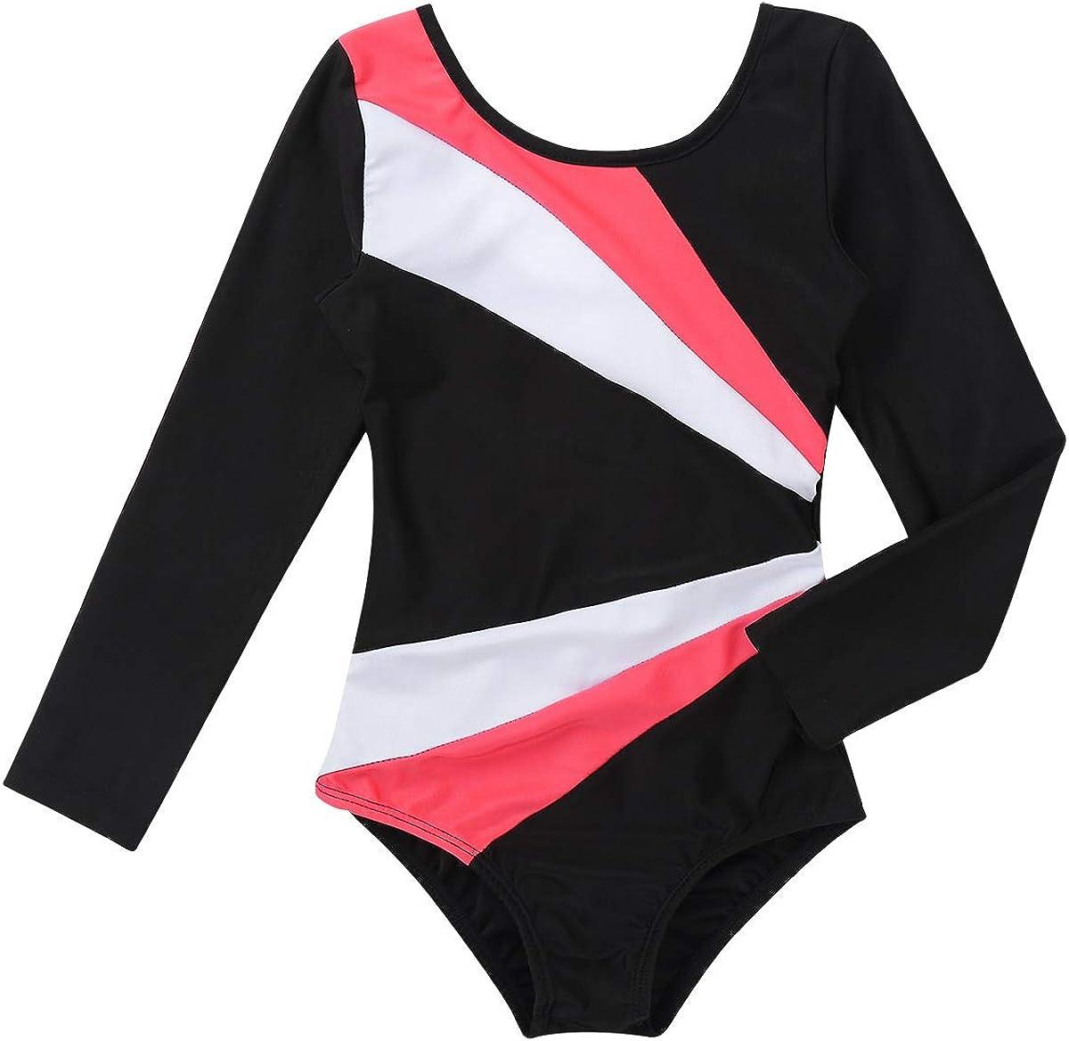 Yeahdor Justaucorps de Gymnastique Enfant Fille Body Danse Ballet Classique Combinaison /à Manche Longue Dos Creux Leotard de Sport Patinage Yoga 3-14 Ans