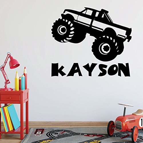 Monster Truck Wall Decal - Personalized Vinyl Decor Boy's Bedroom Decoration, Playroom or Children's Room Decoration (Truck Wall Modern)