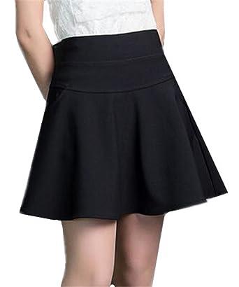 a917bddaef51 BESTHOO Mini Jupe Parapluie Femme Jupe Taille Haute Jupe avec Poches Jupe  Taille Elastique Jupe Couleur