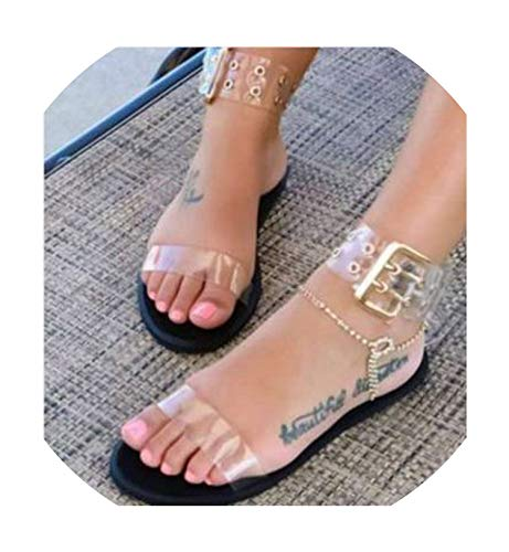 New Women Sandals Transparent Flat Summer Gladiator Open Toe Clear Jelly Shoes Ladies Roman Beach ()