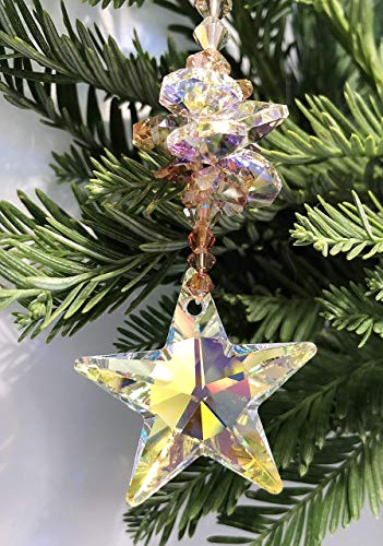 Christmas Decoration, Aurora Borealis, Swarovski Star Suncatcher, Tree Ornament, Holiday Decor, Rear View Mirror, November Birthday, 8940 from Judy Evans Collection