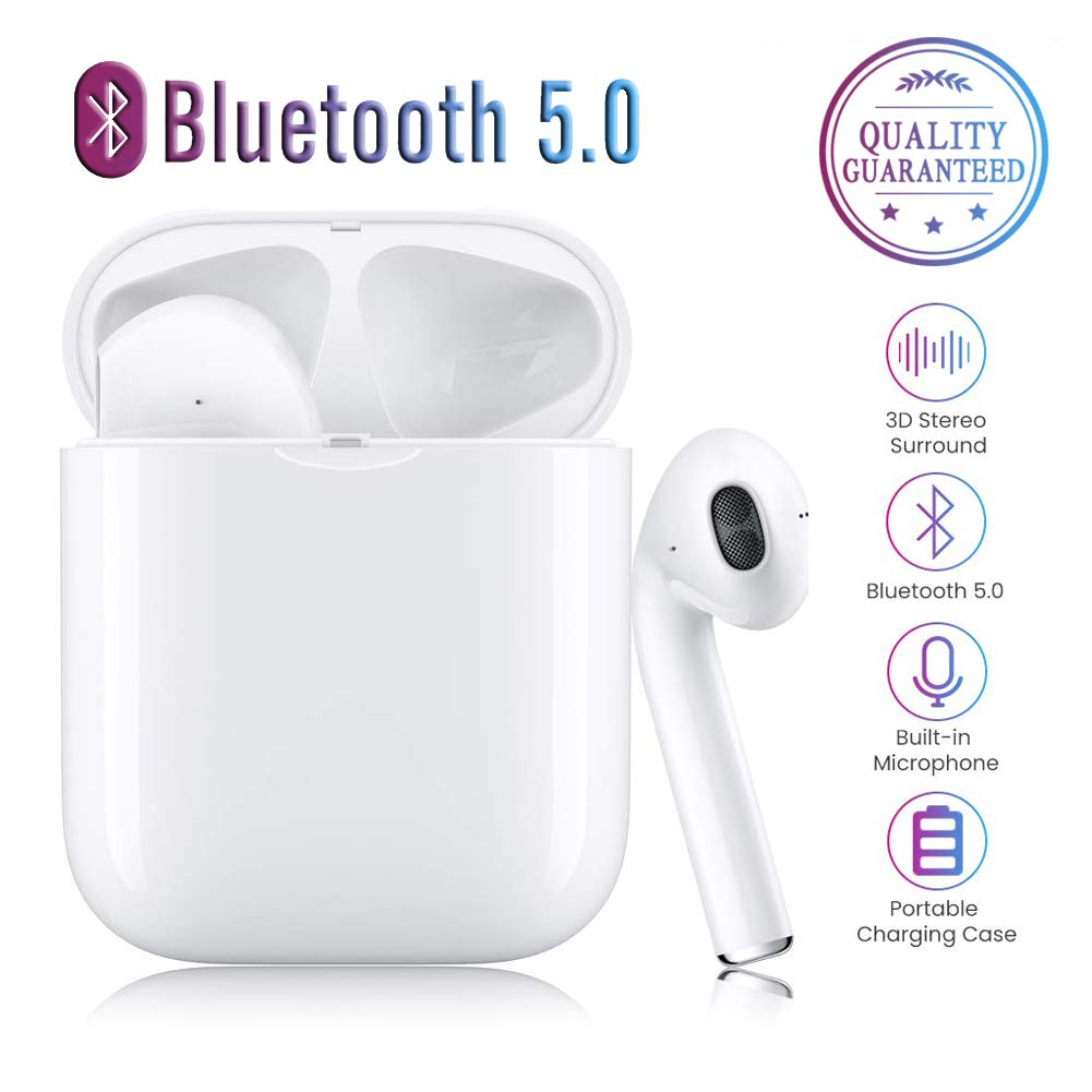 Wireless Bluetooth 5.0 Headset, Subwoofer Smart Noise Reduction Bluetooth Earphone Headset Automatic Pairing 3D HD Stere Earphones Built-in Mic Headset for Apple Airpods AirPods Pro Android iPhone