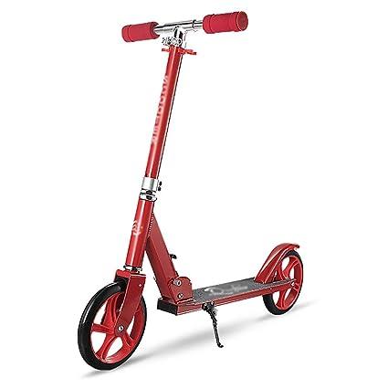 Patinetes de tres ruedas Scooter Plegable de 2 Ruedas Rojo para Adulto, Ancho de Cubierta
