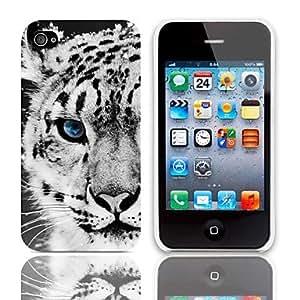 Patr¨®n del tigre del estuche r¨ªgido con paquete de 3 protectores de pantalla para iPhone 4/4S