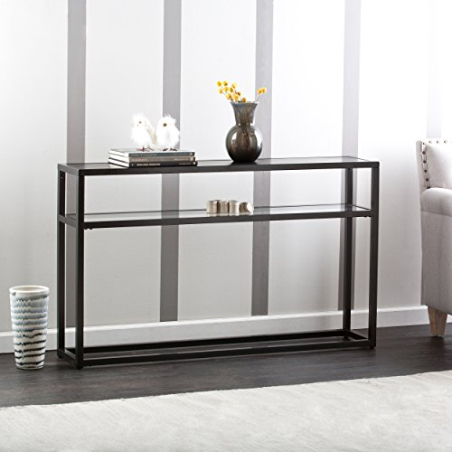 Baldrick Glass Media Console Table - Space Saving w/ Slim Profile - 2 Tier (Table Glass For Tv)