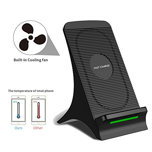 Wireless Fast Charging, HAISSKY 2 Coils Wireless Charger Stand with Cooling Fan for Samsung Galaxy S9/Note 8/S8/S7/S6 Edge Plus, Standard Charge for Apple iPhone 8 Plus/X, Black