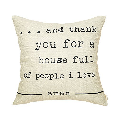 Rustic And Thank You for a House Full of People I Love Farmhouse Quote Décor Sweet Home Sign Cotton Linen Home Decorative Throw Pillow Case Cushion Cover with Words for (Full House Signs)
