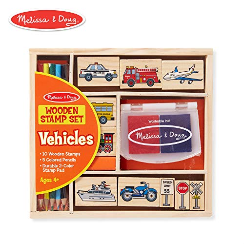 Melissa & Doug Vehicles Wooden Stamp Set (10 Stamps, Stamp Pad, Colored Pencils)
