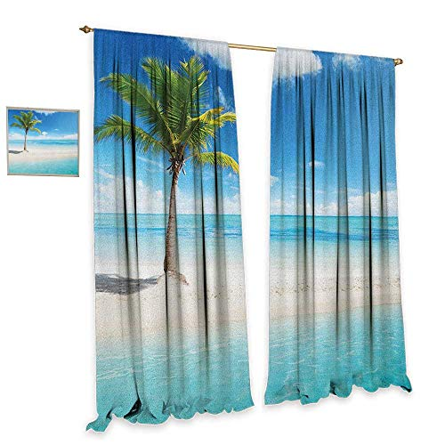 Ocean Patterned Drape for Glass Door Idyllic Scenery Seashore Picture Sun Rays View with Palm Tree Tropical Beach Decor Curtains by W72 x L84 Aqua White Green ()