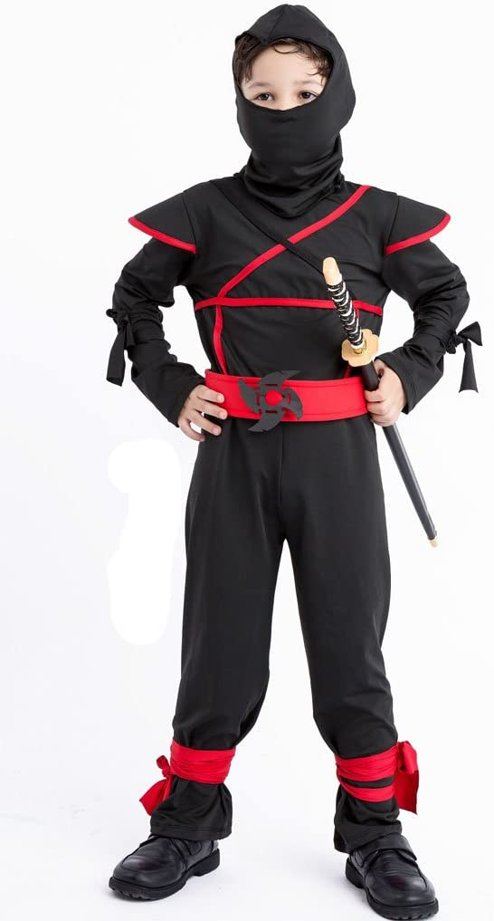 "Meeyou Stealth Ninja Costume for Boys/Girls Role Play (XL(Height:51""-55""), Black-1)"