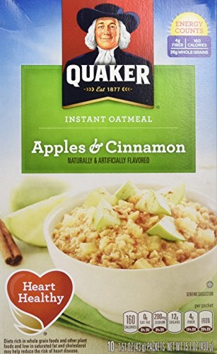 Apple Quaker - Quaker Instant Oatmeal, Apples & Cinnamon, Breakfast Cereal, 15.1 Ounce, (Pack of 4)