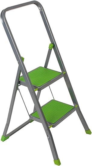 Escalo L422HV - Escalera plegable (2 peldaños, aluminio, 102,5 x 46 x 3,5 cm), color verde: Amazon.es: Bricolaje y herramientas