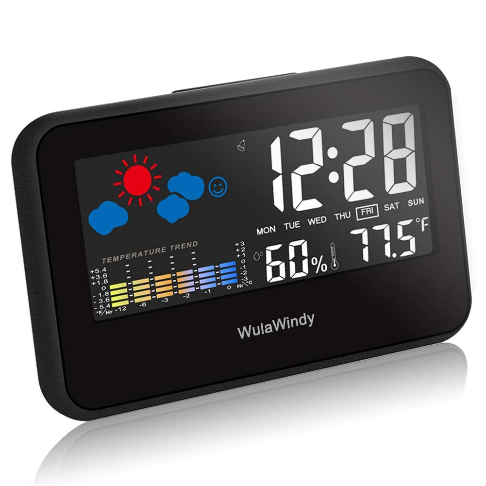 WulaWindy Digital Alarm Clock Thermometer Large Display with LED Light Temperature Humidity for Home Travel Battery USB Operated