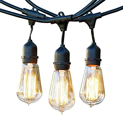 Brightech - Ambience Pro Vintage Hanging - Outdoor Weatherproof Commercial-Grade - WeatherTite - 15 Edison Bulbs Included - 40 Watts - 48-Foot Strand - Black (Certified Refurbished)