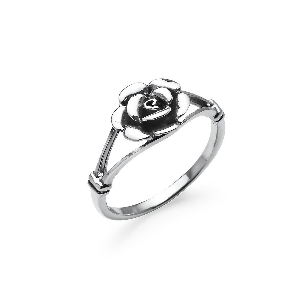 Nine2Five Rose Flower Sterling Silver Comfort Fit Band Ring, Nature Charm Friendship Promise Ring Size 7