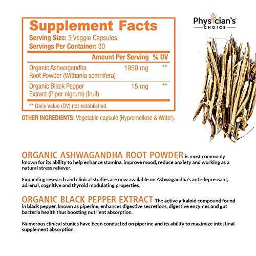Ashwagandha 1950mg Organic Ashwagandha Root Powder Extract of Black Pepper Anxiety Relief, Thyroid Support, Cortisol & Adrenal Support, Anti Anxiety & Adrenal Fatigue Supplements 90 Veggie Capsules by PhysiciansChoice (Image #1)
