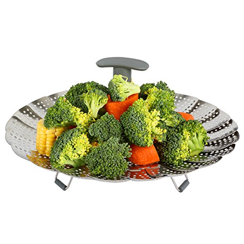 "Vasdoo Large Vegetable Steamer Basket,Fits 6,8 Quart Instant Pot Pressure Cooker,Stainless Steel Foldable Steamer Insert with Extendable Handle (7"" to 11"")"