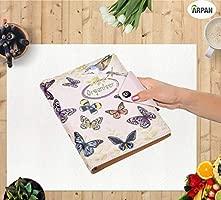 Arpan - Agenda personal, A5, cuaderno de renglones y tapas acolchadas con botón de cierre a presión, color Vintage Butterfly A5
