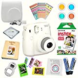 Fujifilm Instax Mini 8 (White) Deluxe kit bundle Includes -Instant camera with Instax mini 8 instant films (10 pack) - Custom Camera Case - instax Album - Frames - Stickers - Close up lens + MORE …