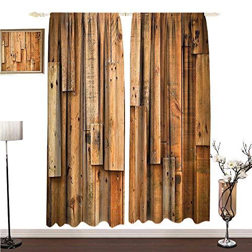 Simple Curtain Wooden Lodge Style Teak Hardwood Wall Planks Image Print Farmhouse Vintage Grunge Design Artsy W96 xL72 Environmental Protection