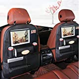 PALMOO [NEW AND IMPROVED] Pu Leather Car Back Seat Organizer and iPad Holder, Universal Use as Car Backseat Organizer for Kids, Storage Bottles, Tissue Box, Toys - (1 Pack, Black)