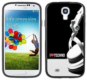 I Love Techno Music Handmade Samsung Galaxy S4 Black Bumper Hard Plastic Case