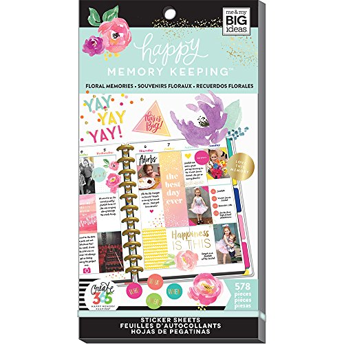 Me & My BIG ideas The Happy Planner Value Pack Floral 578 Stickers -