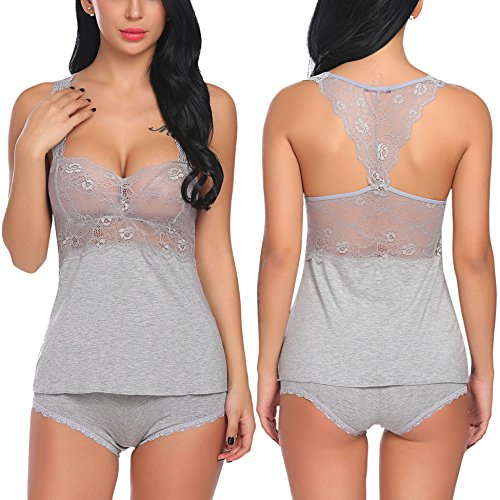 Oheetu Women Sexy Lingerie Floral Lace Cami Shorts Pajama Set Nightwear Grey S (Sexy Cami Set)