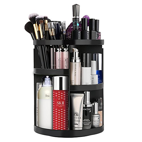 Etmury 360 Rotating Makeup Organizer Storage Holder, Adjustable Make Up Caddy Spinning Bathroom/Vanity Countertop Shelf, Save Space Carousel Cosmetic Accessries Display Case
