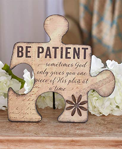 MattsGlobal Shop Sweet Puzzle Piece Angels or Signs - MDF Cold Cast Ceramic - Let Them Know How Much You Care (Be Patient Plaque)