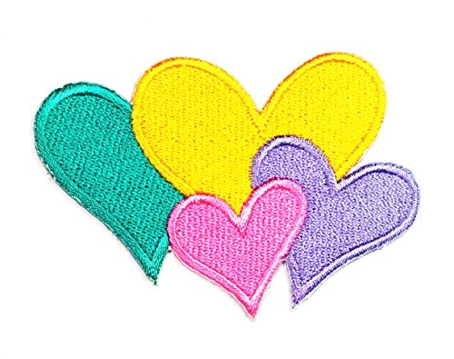 HHO Colorful Heart Green Yellow Pink Purple Kids Cartoon Sew Iron on Embroidered Applique Craft Handmade Baby Kid Girl Women Cloths DIY Costume